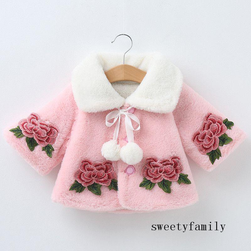 كيب صدرية ثخن بسيط الوردي الأبيض الأخضر معطف فتاة المعطف ألبسة التنزه زهرة التطريز شال لطيف معطف صوف