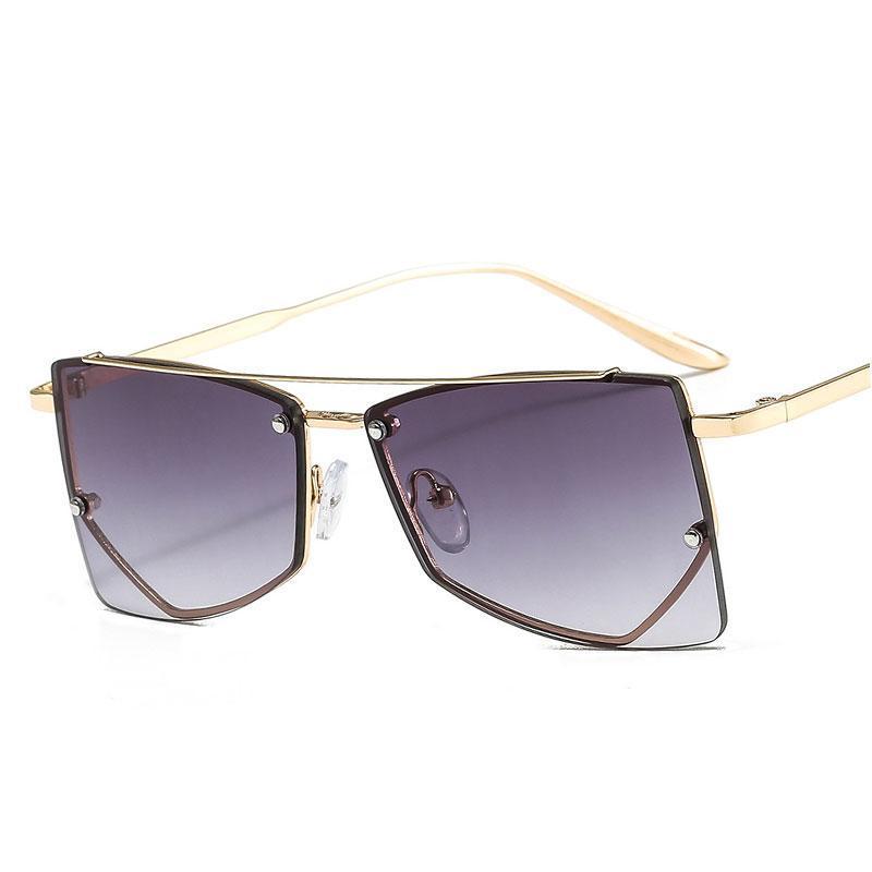 Lunettes de soleil Veshion Cadre en métal de luxe Personnalité Hommes Femmes Mode Shades UV400 Vintage Verres