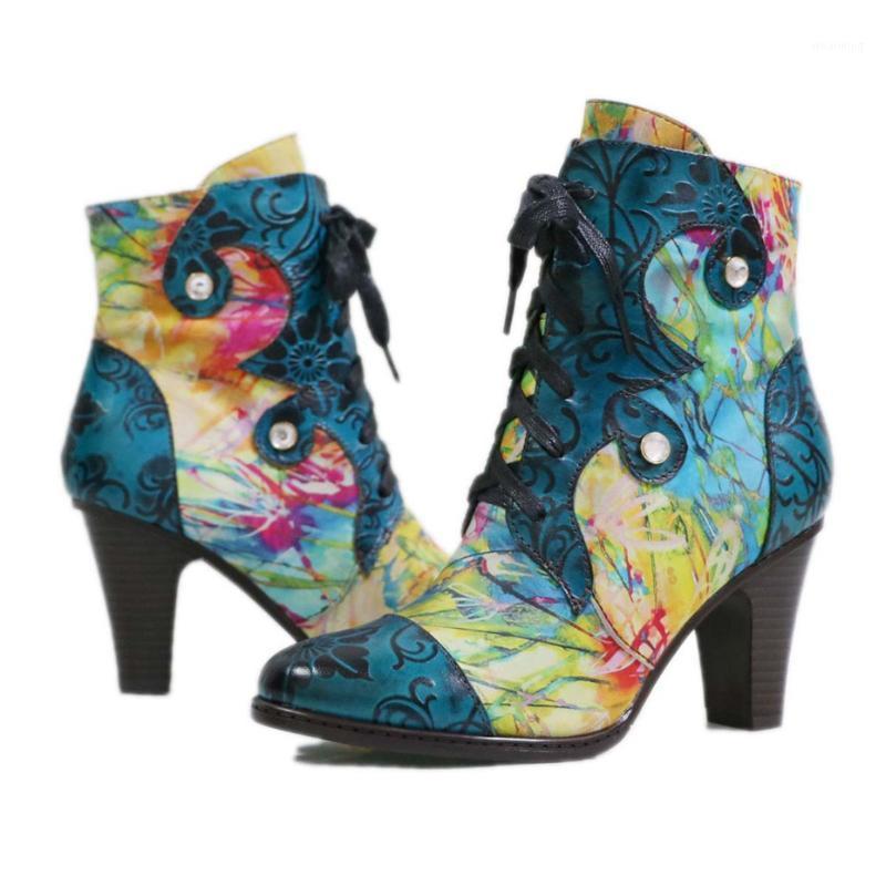 Boots Vinatge Handmade Print Лодыжка для женщин Ретро высокий каблук ботинок леди женская обувь зимняя зимняя зимняя женская кожа женских западных ботинок1