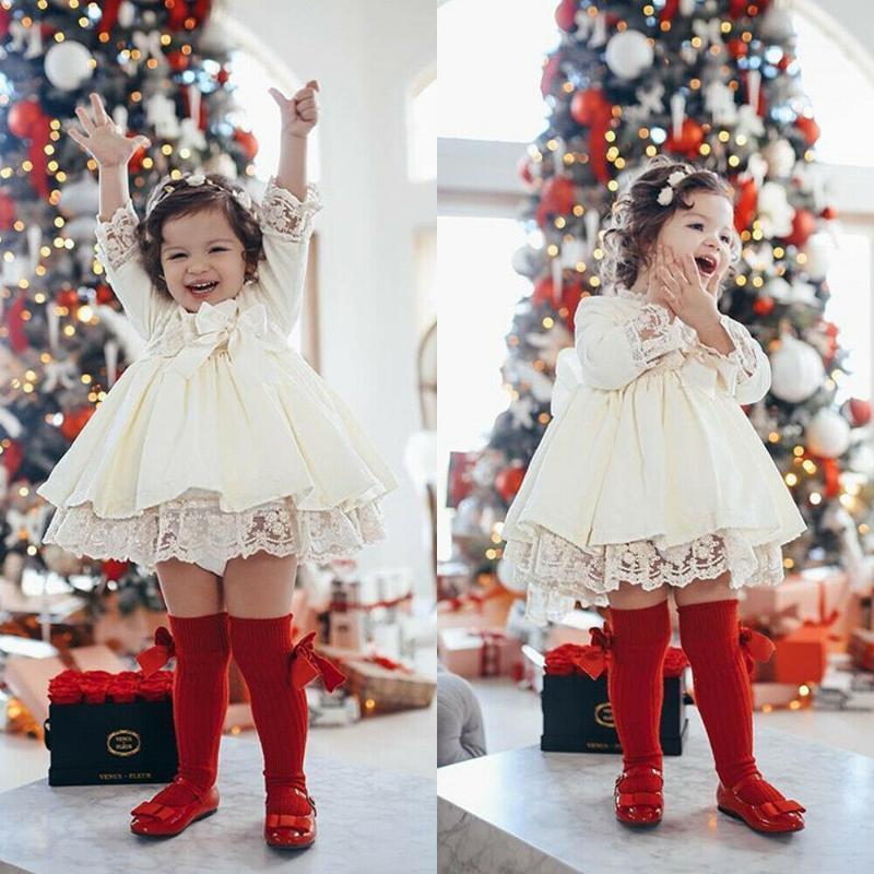 Рождественские дети девочки девушки красное платье с длинным рукавом кружева лук пачка вечеринка свадьба рождения платья девушки рождественские костюмы1