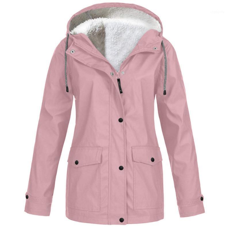 플러스 사이즈 여성 자켓 코트 양털 레인 코트 가을 겨울 따뜻한 비옷 방수 방풍 후드 캠핑 투어 비 일회용 1
