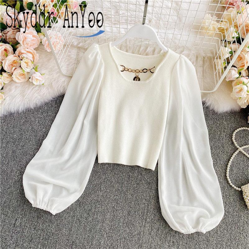 2021 Women Autumn Puff Long Sleeve Elegant Blouse Patchwork Knitted Vintage White Shirt Top Slim Short Korean Style Blusas Mujer