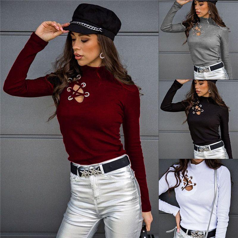 Oymak Bayan Örgü Tshirt Moda Toprak Renk Ince Uzun Kollu Seksi Mürettebat Boyun Bayan Giyim