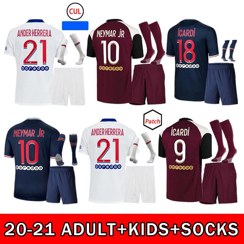 2021 Jersey de futebol Mbappe Neymarjr Icardi di Maria Cavani Draxler Marquinhos 20 21 Kit de crianças adultos de alta qualidade + meias camisa de futebol