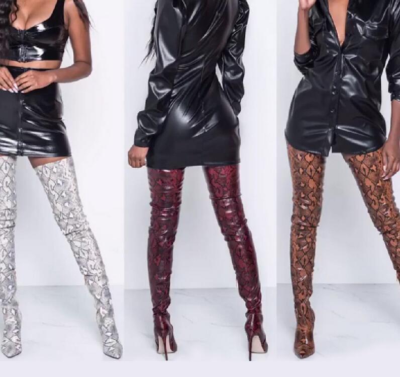 2021 الشتاء أكثر من الركبة النساء جلد الثعبان أحذية تمتد العليا زلة كعب على أحذية أشار تو إمرأة طويل أحذية الحجم 36-41