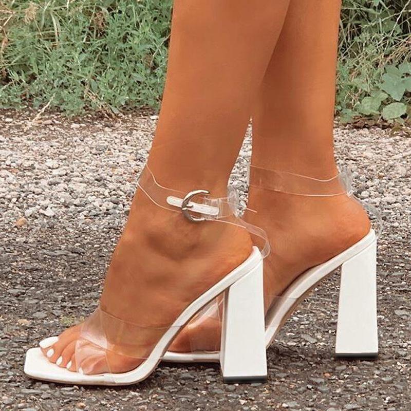 Sandals Ltarta 2021 Цена сокращения квадратных пальцев ног коренастый каблук крест сексуальные прозрачные высокие каблуки большой размер женские ZL-665-2