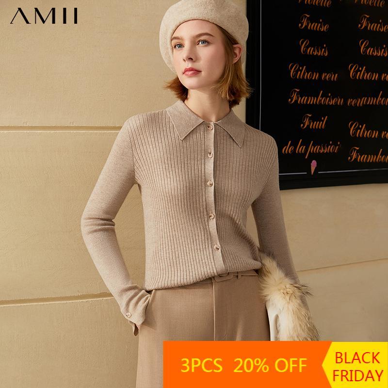 AMII Minimalisme Automne Hiver Olstyle Femme Cardigan Fashion Causse de la mode Causse solide Slim Ajustement Fit Femme Pull Pull Tops 12030460 201127
