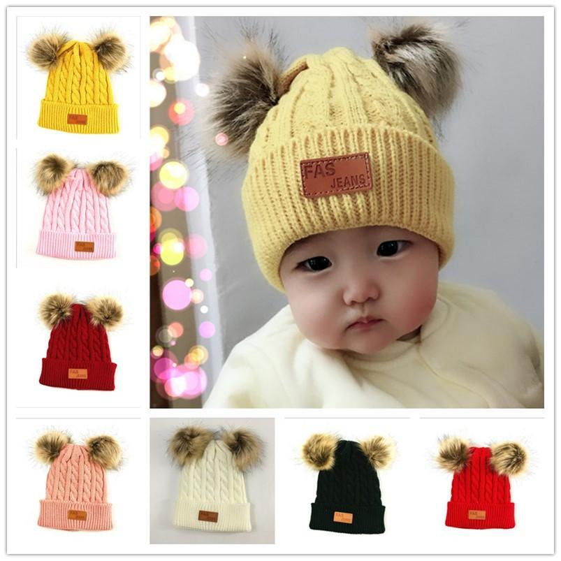 Winter Beanies Kids Infant Children Baby Twist Knit Warm Hat Skull Cap with Two Double Pom Fur Ball Beanie Boys Girl Crochet Hats E101003