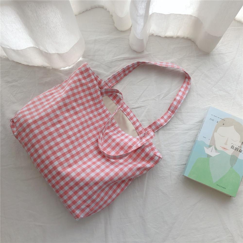 Mode Baumwolle Plaid Umhängetasche Tägliche Umwelt Dauerhafter Tuch Wiederverwendbare Einkaufen Tasche Frauen Reise Handtasche