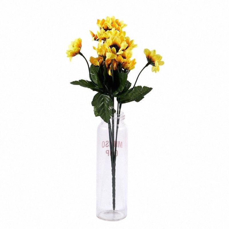 14 Jefes artificial falso paño de seda ramo de flores de girasol Inicio floral de la boda Decoración Amarillo 5U1L #
