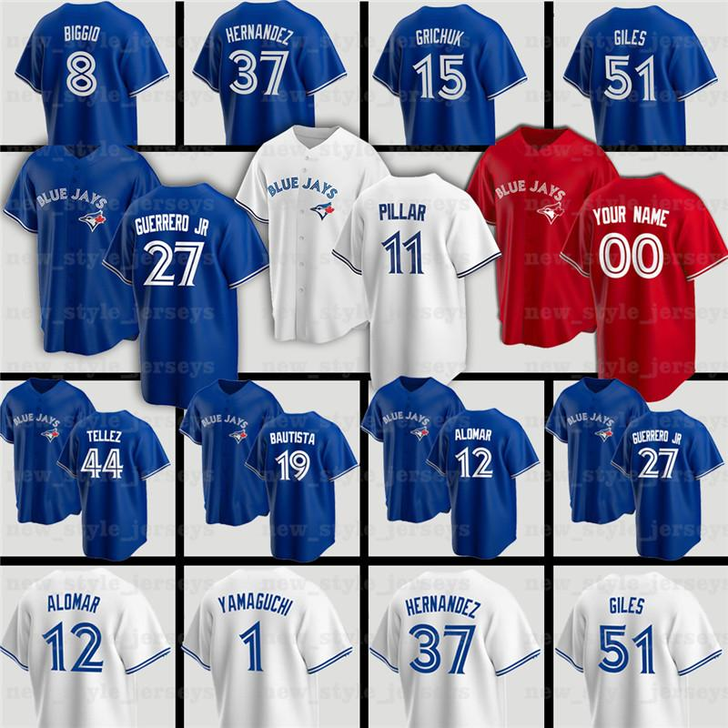 27 Vladimir Guerrero Jr. 11 Kevin Pillar 19 Jose Bautista Blue Jays Jersey 8 Cavan Biggio 29 Joe Carter 12 Roberto Alomar Baseball Jerseys