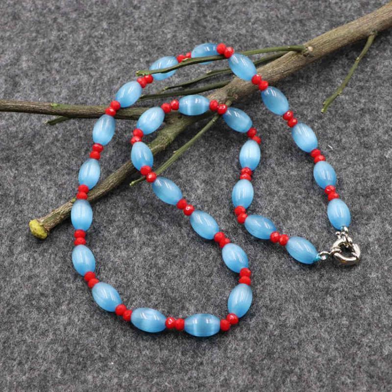 """Vente en gros à la main Collier ras du cou pour femmes Charms cristal chat perles pierre de l'oeil chaîne Strand Colliers Bijoux Collares 18"""" B176"""