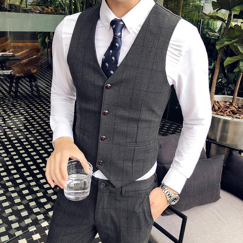 Alta Qualidade Terno Colete Homens Moda Vestido de Noiva Vest Business Traides Formal Negócios Slim Slim Wed Gilet Sem Mangas1