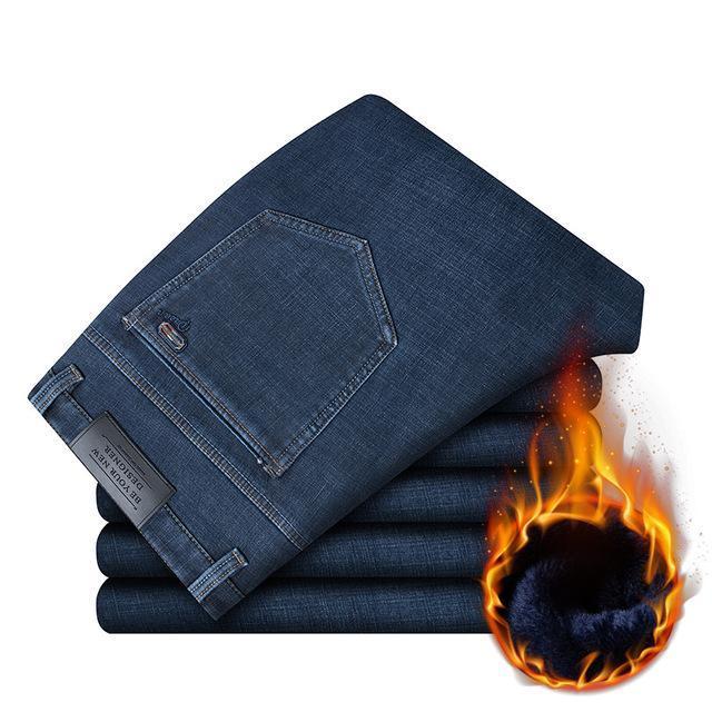 chaud hommes hiver jean coton de haute qualité jean droit solide pour les hommes