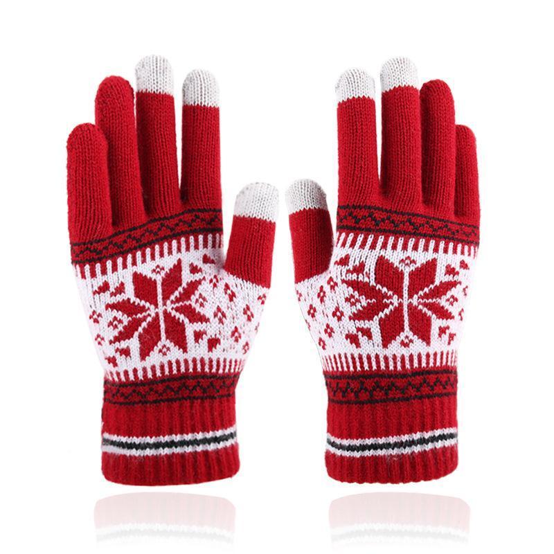 Fünf Fingerhandschuhe Herbst- und Winter-Touchscreen-Männer Damenmode Schneeflocke-Finger gebürstet verdickt gestrickt warm