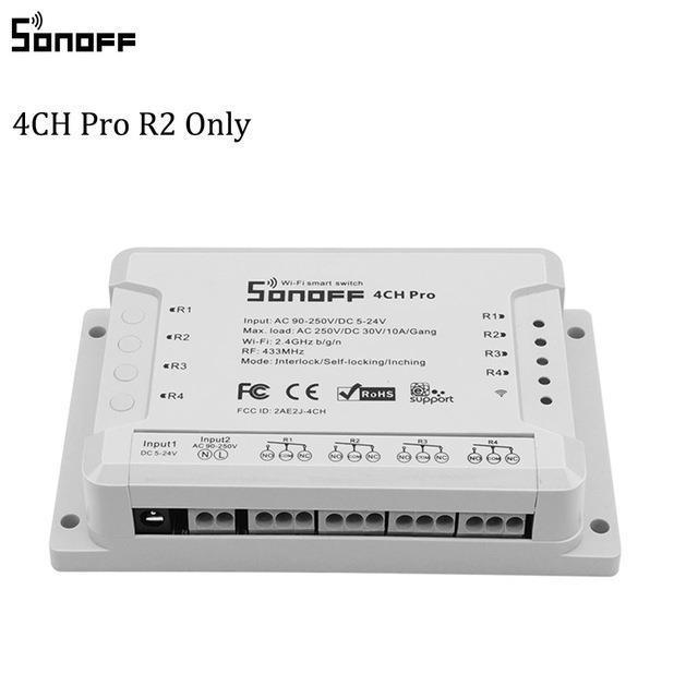 Home Automation Moduli Itead SONOFF 4CH PRO R2 Wifi 4 Gang Timer Light Switch 433Mhz Smart Home Switch 4 canali a distanza senza fili