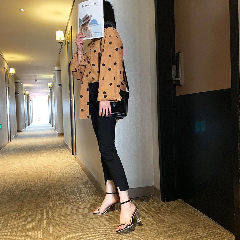 Sıcak Satış-Yaz Şeffaf Kristal Yüksek Topuklu Sandalet Seksi Leopar Sandalet kadın Yeni Moda Yüksek Topuklu Kalın Topuk Kristal Kırmızı