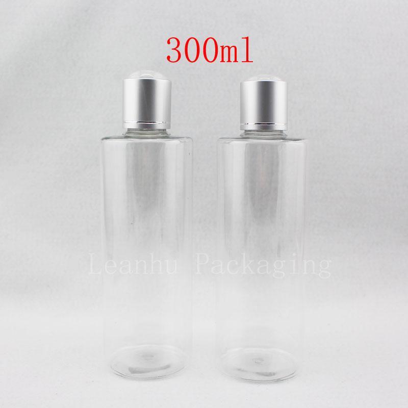 300ml X20 vide autour de la bouteille en plastique avec bouchon cosmétique, shampooing / lave-nettoyage des bouteilles d'emballage en aluminium capuchon supérieur du disque