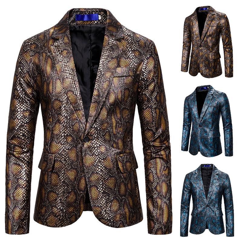 Casual Um Botão Office Suit Brasão Blazer Blazer Top Python padrão paletó dos homens Casual Masculino