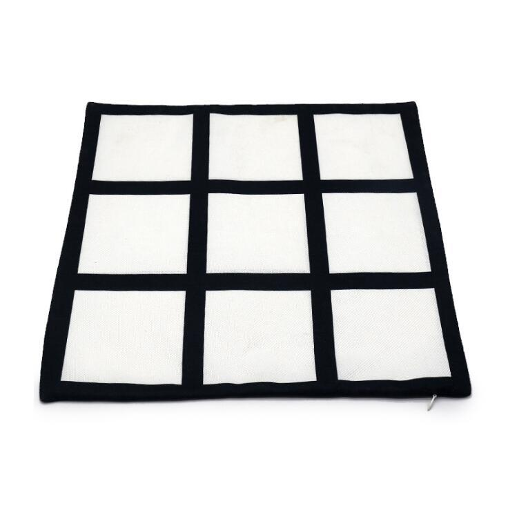 Blank Sublimation Pillow Case 40*40cm Black Grid Heat Transfer Throw Cushion Cover Home Sofa Pillowcases CCA12601 60pcs