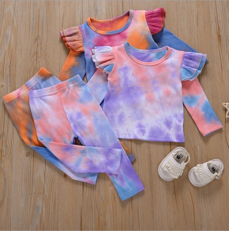 Tie Dye наборы с длинным рукавом Футболка брюки костюмы мальчики девушки повседневная одежда весна осень младенца гриль одежда набор lsk761