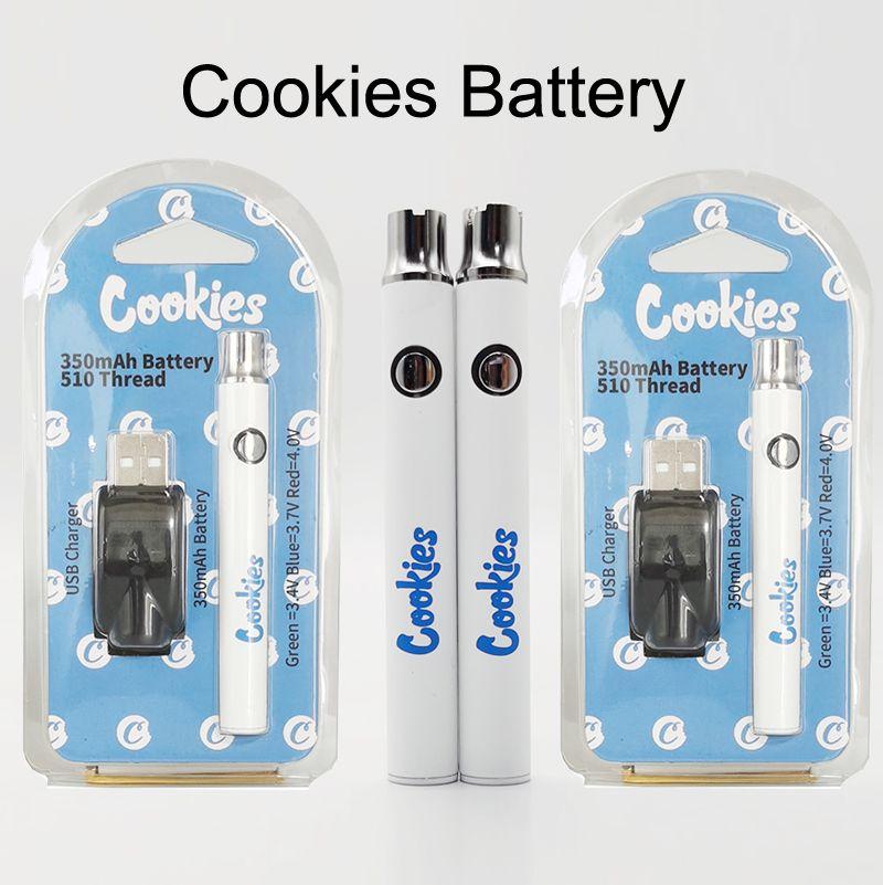 USB Şarj Kapaklı Ambalaj ile Çerezler Ön ısıtma Vape Kalemler Pil 350mAh Ayarlanabilir Voltaj Vape Kartuşları Piller 510 Batarya