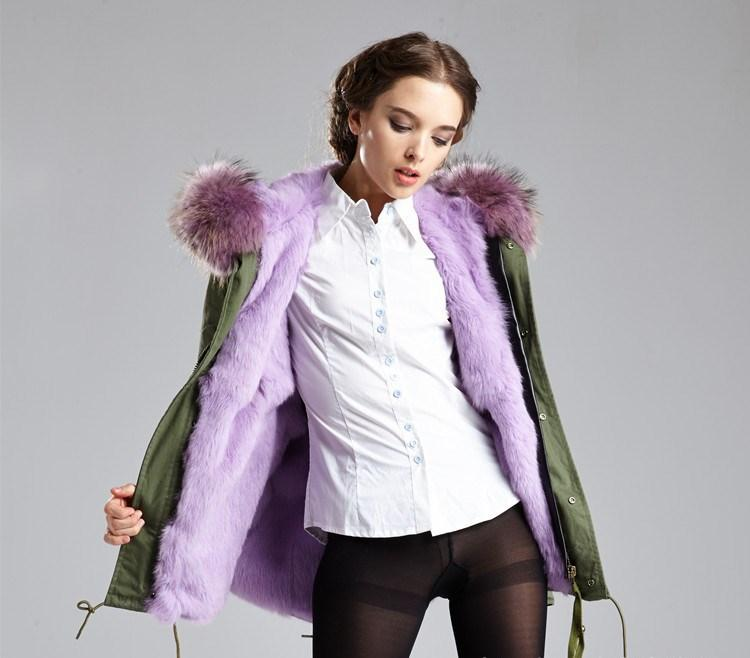 donne resistenti al freddo WAM cappotti 4XL 3XL Meifeng marchio lavanda pelliccia di coniglio fodera in verde militare mini parka Lavanda procione bordo in pelliccia