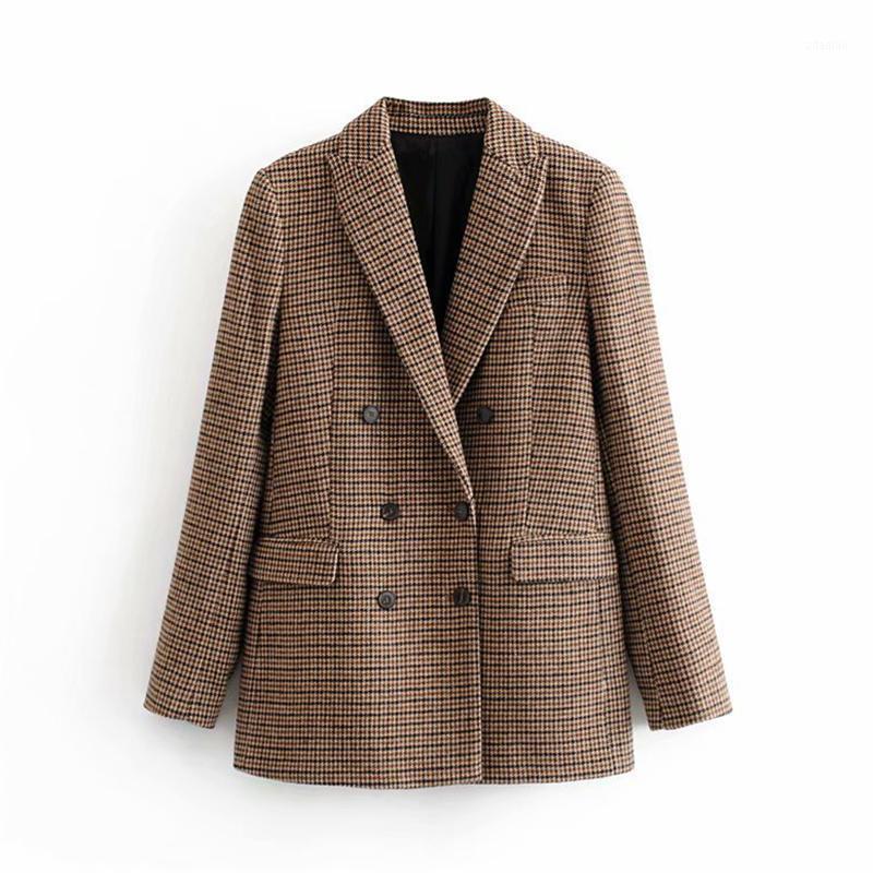 Qiqueen vintage casual plaid blazer frauen mode doppelt breasted office damen jacke mantel gekerbt kragen langarm uagen1