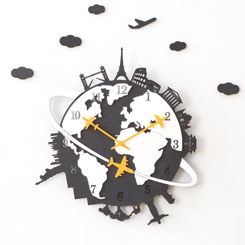 Çocuk Odası Tasarımı Dekoratif İzle Duvar Sticker Sanat Sessiz SUZUKI merchanism Yeni Dünya Turu Avrupa Duvar Saati Ev Dekorasyonu