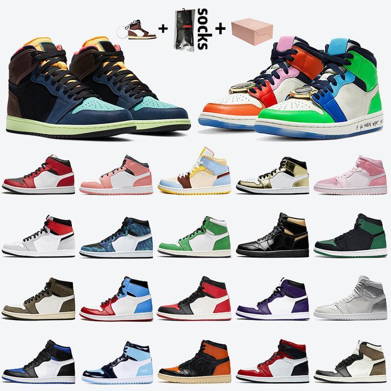 nike air jordan 1 retro 1 off white 1s stock x с коробкой женская мужская баскетбольная обувь jumpman 1 high OG Bio Взломать FEARLESS Темный мокко Lucky Green обувь