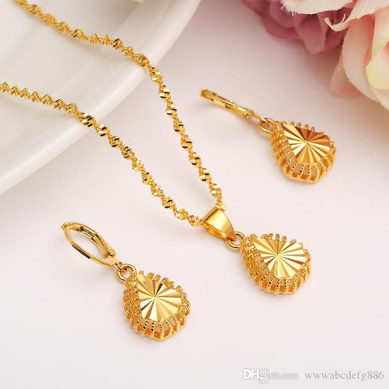 Women Fashion High 3d Jewelry Set Necklace Earrings Wedding Sets 14k Fine Gold Color Filled Africa /Arabia /Middle East Gift