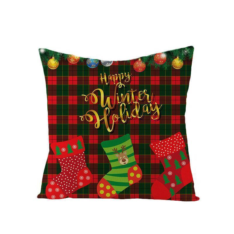 45*45cm Pillow Case Decorations For Santa Clause Christmas Deer Cotton Linen Cushion Cover Home Decor DHA2272