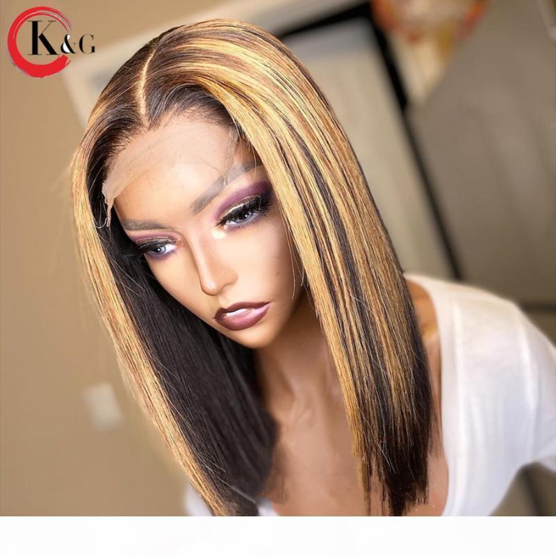 Kungang Destaque Bob 4 * 4 Lace Encerramento Perucas 130% Densidade Rácio parte dianteira do laço de cabelo humano Perucas Oriente peruca cabelo não-Remy