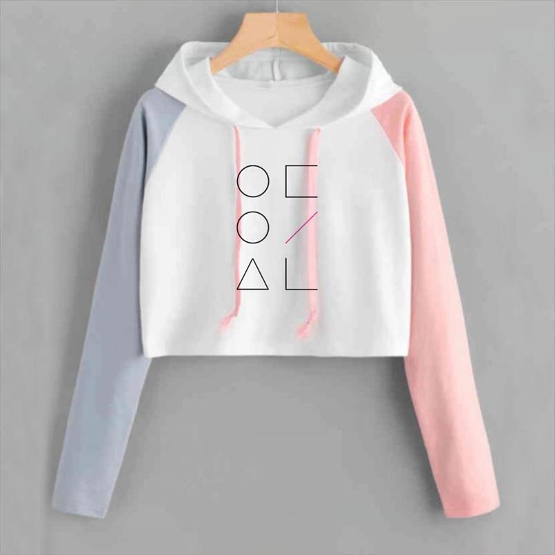 Koreanische Art Kpop Loona Crop Top-Sweatshirt Frauen Rosa lose Langarm Pullover Sweat Femme geerntete Hoodies Tropfen-Einkaufen