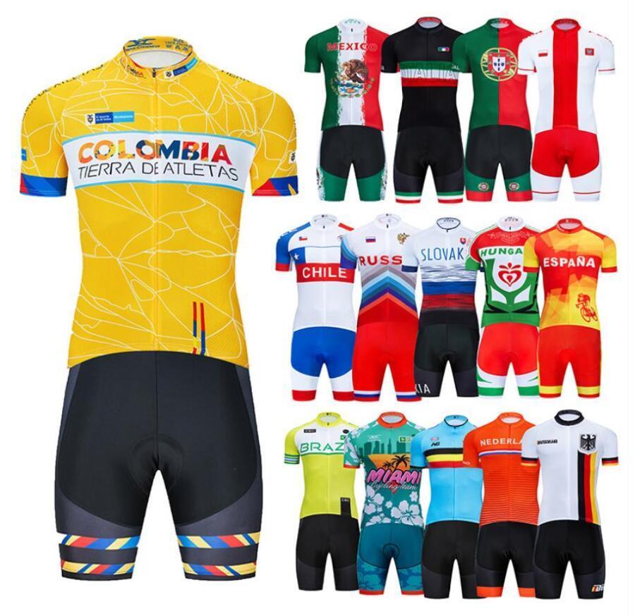 2020 New National Squadre Pro Cycling Jersey Bib Set bicicletta MTB Uniforme asciutto rapido bici copre Mens Breve Maillot Culotte Suit colombia