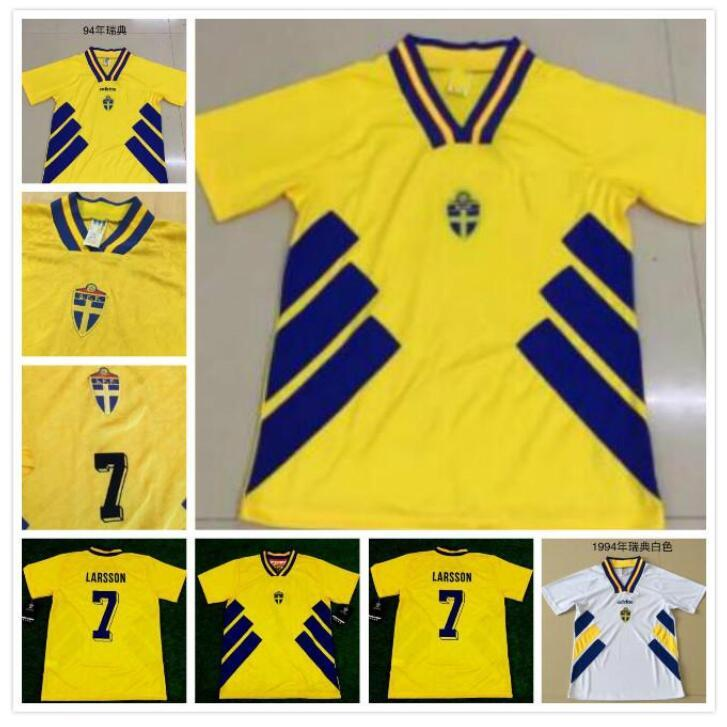 Ретро 94 Швеция Футбол Джерси 94 Dahlin Brolin Larsson Ingesson Classic Винтажные футболки Calcio Hot Ibrahimovic 10 Berg Svensson 20