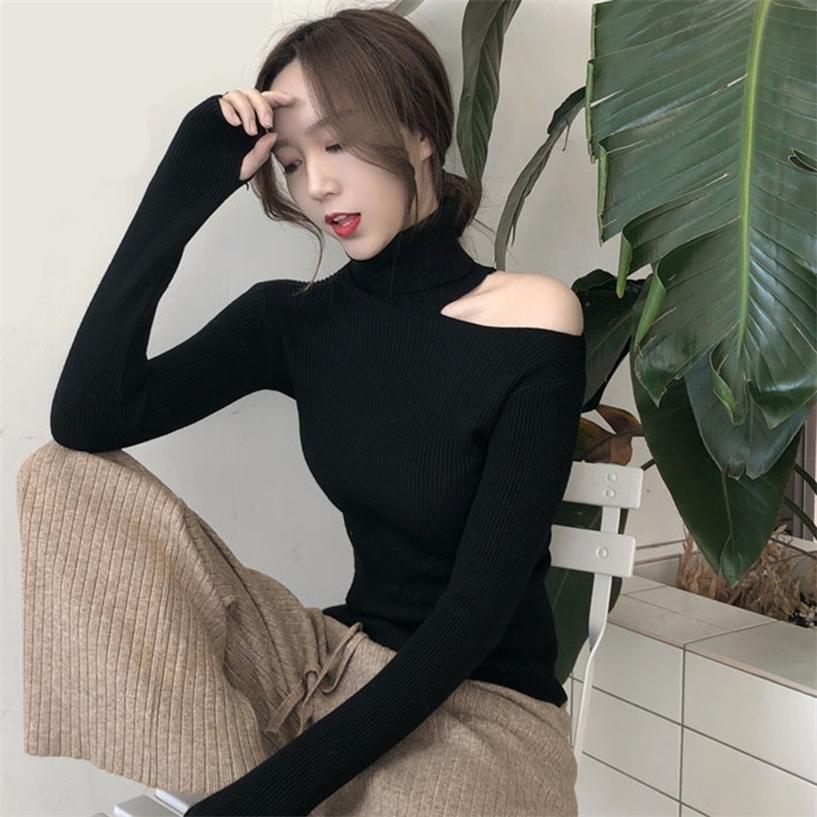 Mujeres suéter otoño invierno nueva camisa sexy versión coreana slim fit suéter suéter hueco abierto cuello alto cuello alto suéter 201221