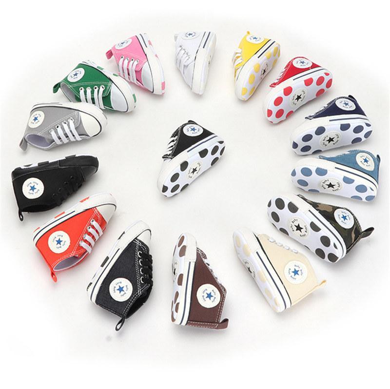 Babyschuhe Junge Mädchen Stern Solide Sneaker Baumwolle Weiche Anti-Rutsch Sohle Neugeborenen Infant Erste Wanderer Kleinkind Casual Canvas Krippe Schuhe