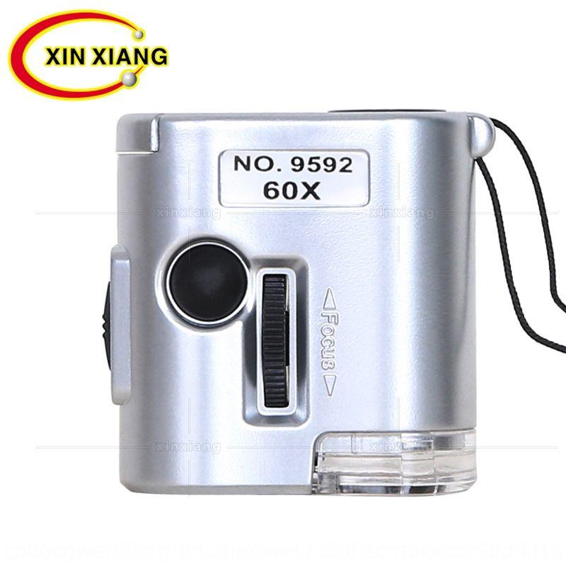 deri kayışı ile LED ışık cep büyüteci ile qxxMu 60x mikroskop portatif çok işlevli kayış kemeri Kısa