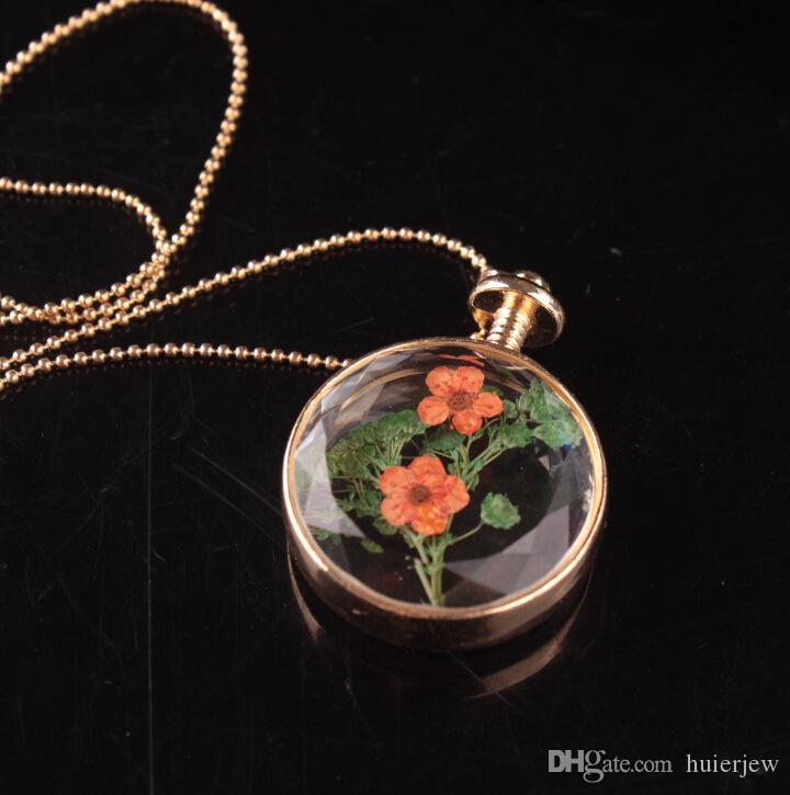 Dry Flower Necklace Cherry blossoms Jewelry Dried Flowers Necklaces Dandelion Glass Necklaces