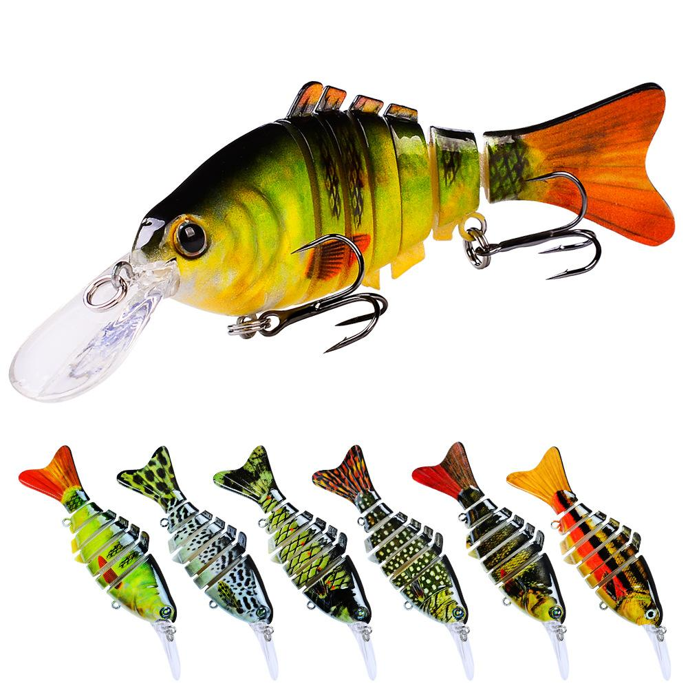 12 pcs Multi Lure de Pesca Juntido 7 Segmentos Swimbait 11.2cm 14G Lifelike Joint Bait Wobblers 6 # Black Treble Hook Bass Tackle