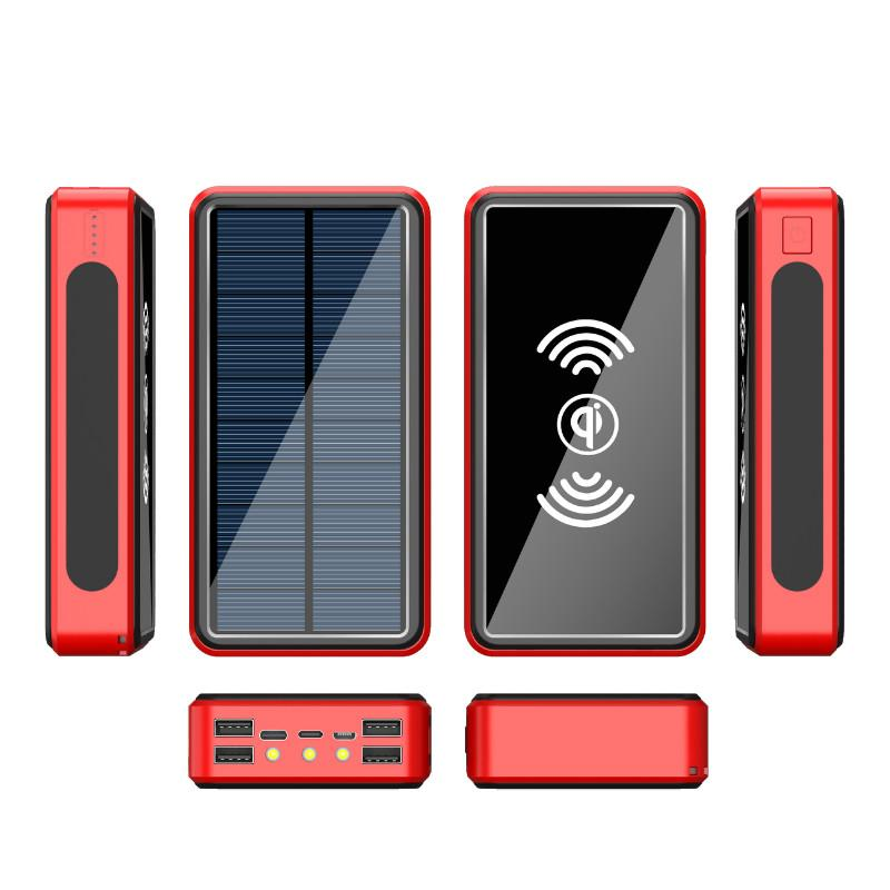 80000mah Energien-Bank-Solar-drahtlose bewegliche Telefon Lade Schnell externes Ladegerät 4 USB Poverbank LED-Licht für iPhone Xiaomi Mi Kostenlos