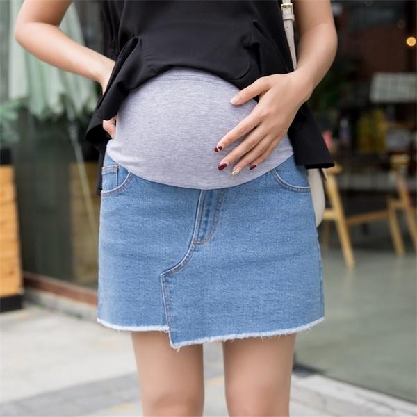 Astar Şort Moda Hamile Pamuk İmparatorluğu eteklerle ile 2020 Yaz Yeni Düzensiz Hamile Kadınlar Kot Etekler 1015 Cepler