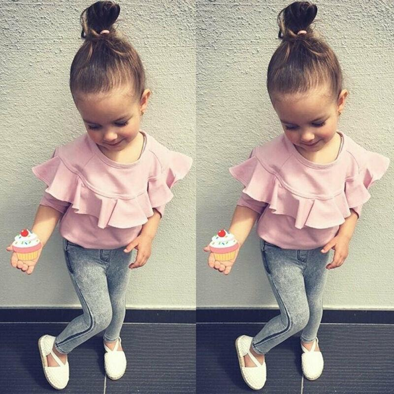 US STOCK Kid Newborn Baby Girl 1T-6T Contton long Sleeve Denim Trousers Winter Clothes Y200325