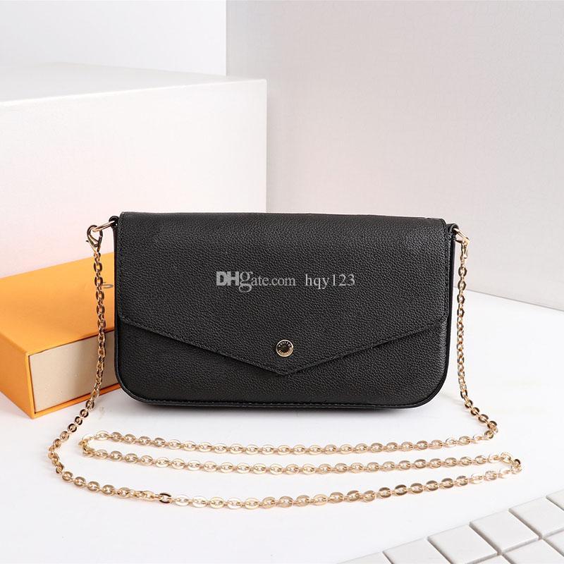 جلد طبيعي فرنسا نمط لطيف 61276 أكياس المرأة حقائب الكتف شعبية امرأة محفظة الثلاثي الحجم 21 * 12 * 3 سنتيمتر