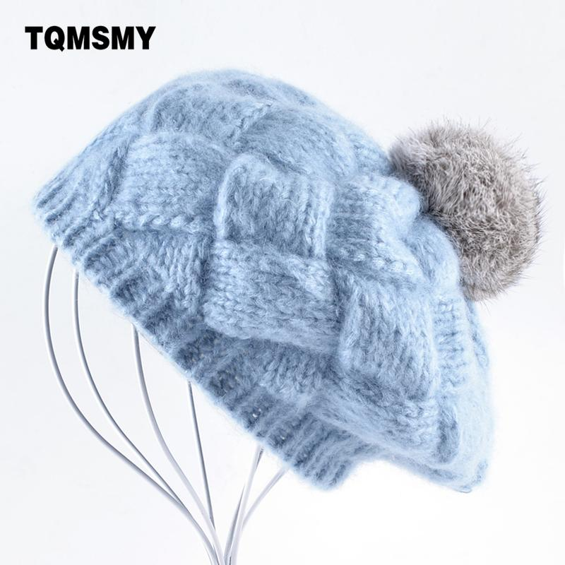 "Tqmsmy women's knitted Beret "" lovely winter hat, knitted wool BERET, real rabbit hair hat, women's Beret gorras Planas boina"