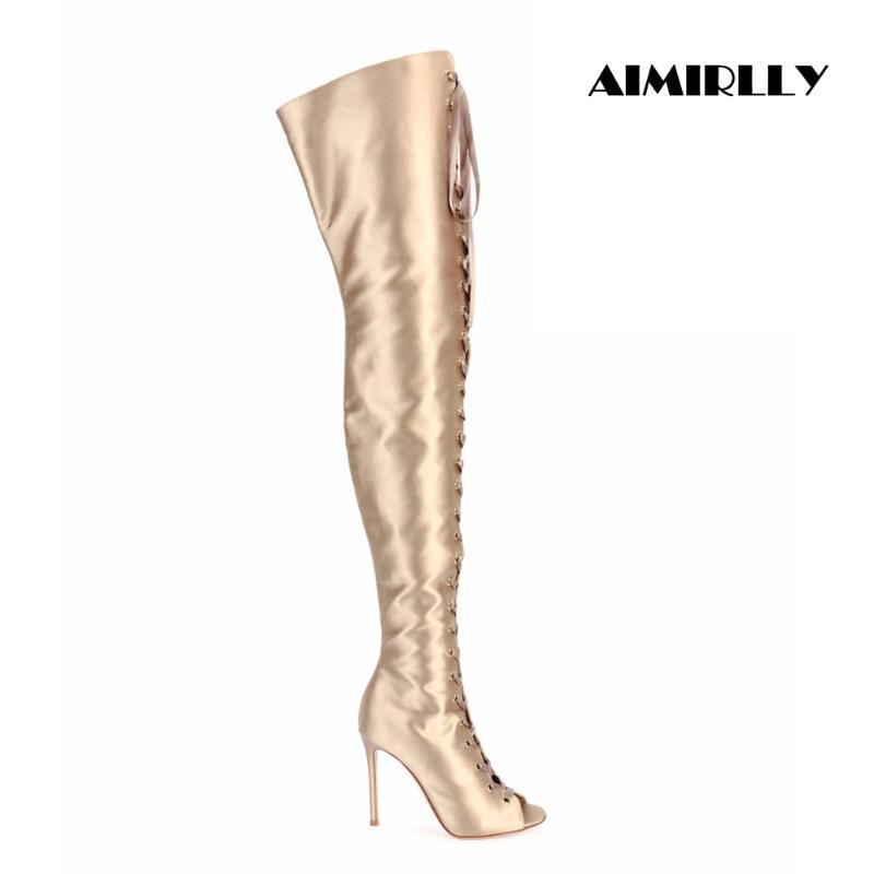 Mulheres Peep Toe Lace Up sobre o joelho botas de ouro de cetim Coxa Salto Alto Botas US Tamanho 4-15,5 Handmade