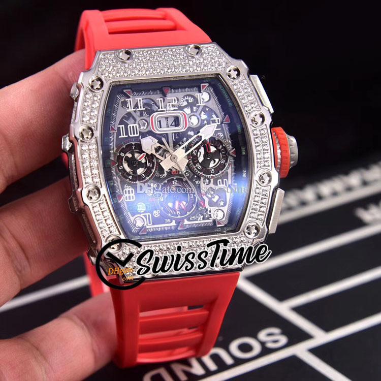 Новая большая дата Flubback Chrono RM11-03 черный циферблат автоматические мужские часы 11-03 стальные алмазные чехол красный резиновый ремешок спортивные часы Strm SwissStime