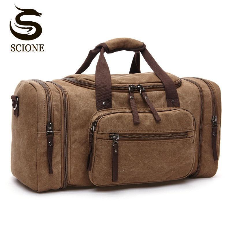 Large Capacity Men Hand Luggage Travel Duffle Bags Canvas Travel Bags Weekend Shoulder Bags Multifunctional Overnight Duffel Bag C1008