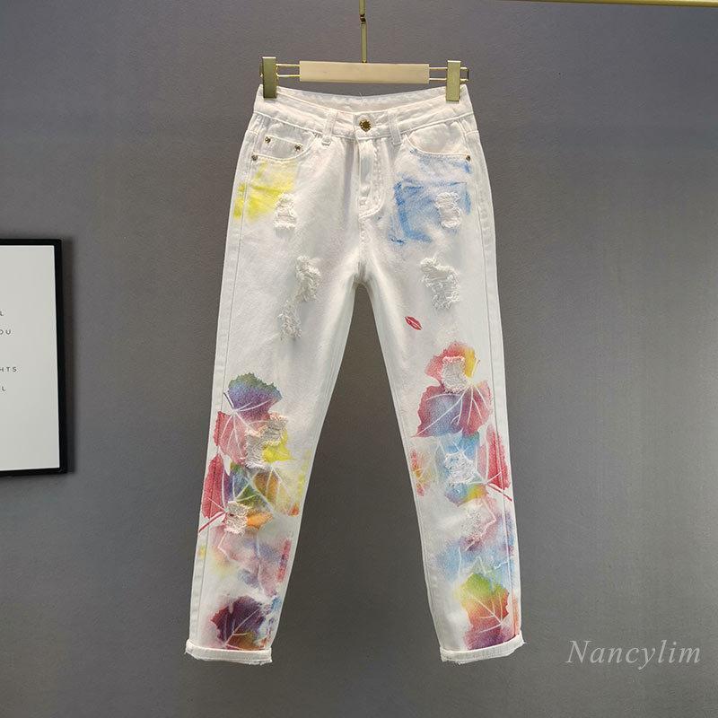 Jeans de mujer impreso Agujero blanco para las mujeres 2021 primavera verano alta cintura adelgazante de adelgazamiento de algodón roto pantalones de algodón
